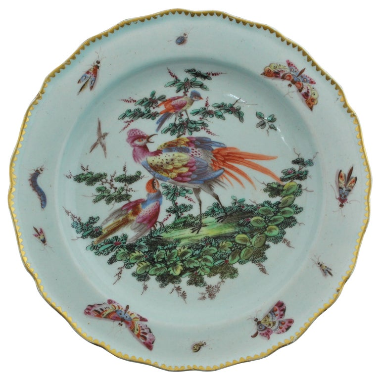 Plate Disheveled Birds, Bow Porcelain Factory, circa 1767 For Sale