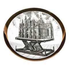 Plate for Rin & C. by Piero Fornasetti, 1975