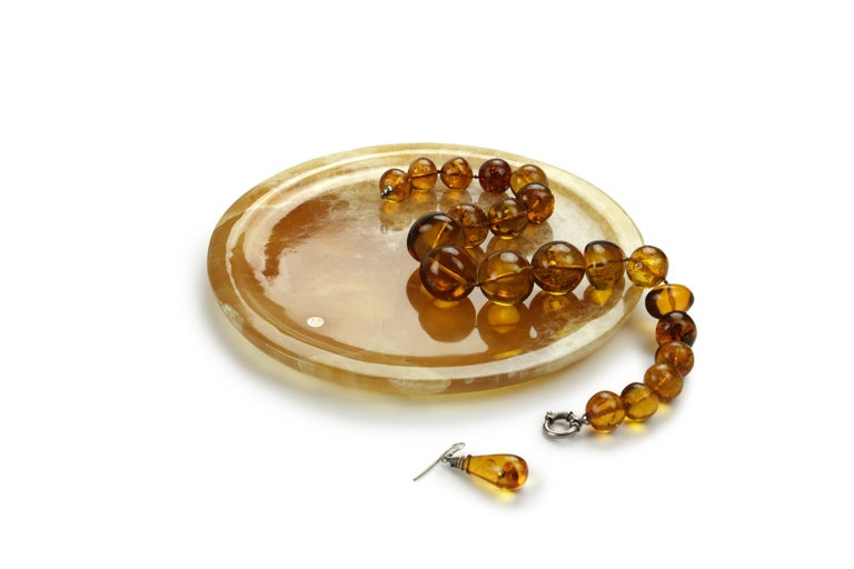 Italian Plate Hand Carved in Amber Onyx Contemporary Design by Pieruga Marble, Italy For Sale