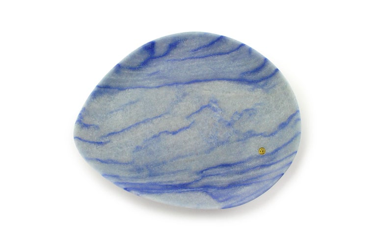 Italian Plate Hand Carved in Azul Macaubas Marble Contemporary Design by Pieruga Marble For Sale