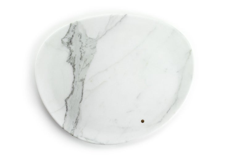 Hand carved presentation plate from Statuary marble. Multiple use as plates, platters and placers. Dimensions: Big L 36, W 35, H 1.8 cm, also available: Small L 24, W 20, H 1.8 cm, medium L 30, W 28, H 1.8 cm.  The precious white Statuary marble has