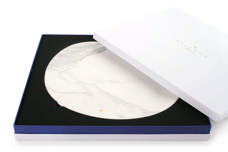 Italian Plate Hand Carved in White Statuary Marble Contemporary Design by Pieruga Marble For Sale
