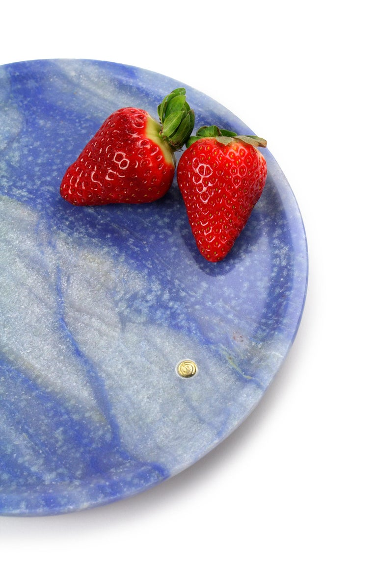 Modern Plate Handmade in Blue Azul Macaubas Contemporary Design by Pieruga Marble Italy For Sale