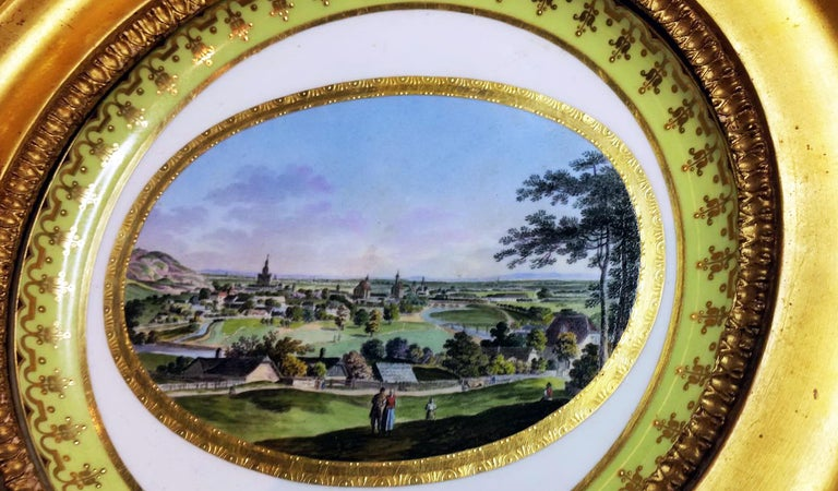 Empire Plate Imperial Viennese Porcelain View of Baden Sorgenthal Period Dated 1802 For Sale