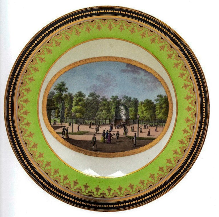 Plate Imperial Viennese Porcelain View of Baden Sorgenthal Period Dated 1802 For Sale 1