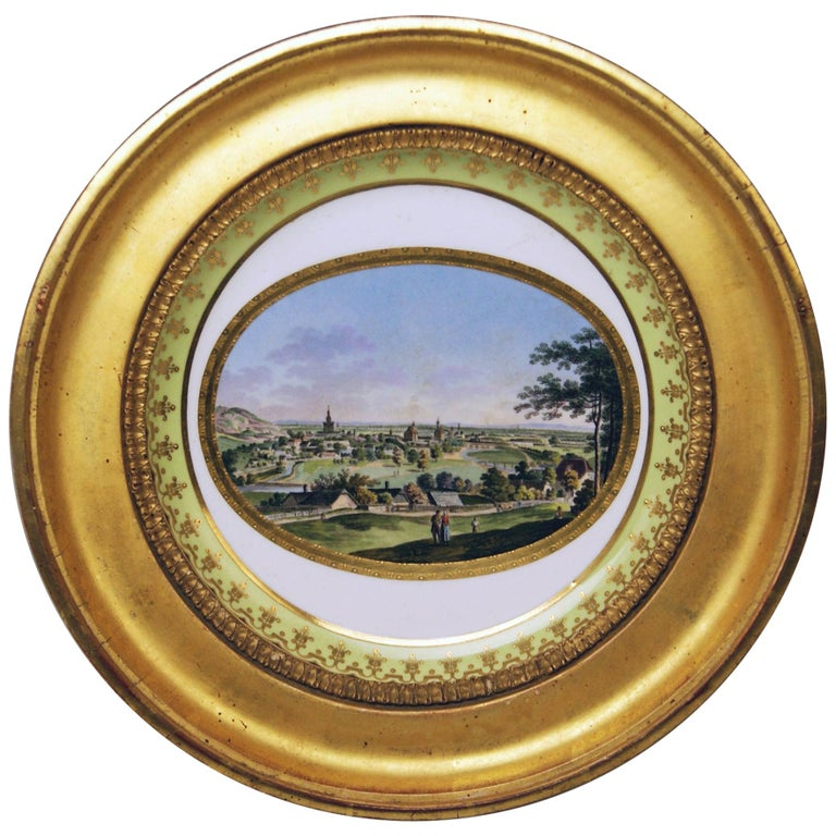 Plate Imperial Viennese Porcelain View of Baden Sorgenthal Period Dated 1802 For Sale