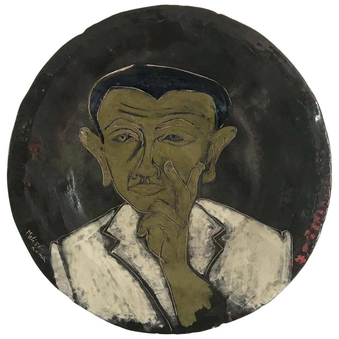 Plate of Salvatore Meli, Self Portrait, Italy, 1960