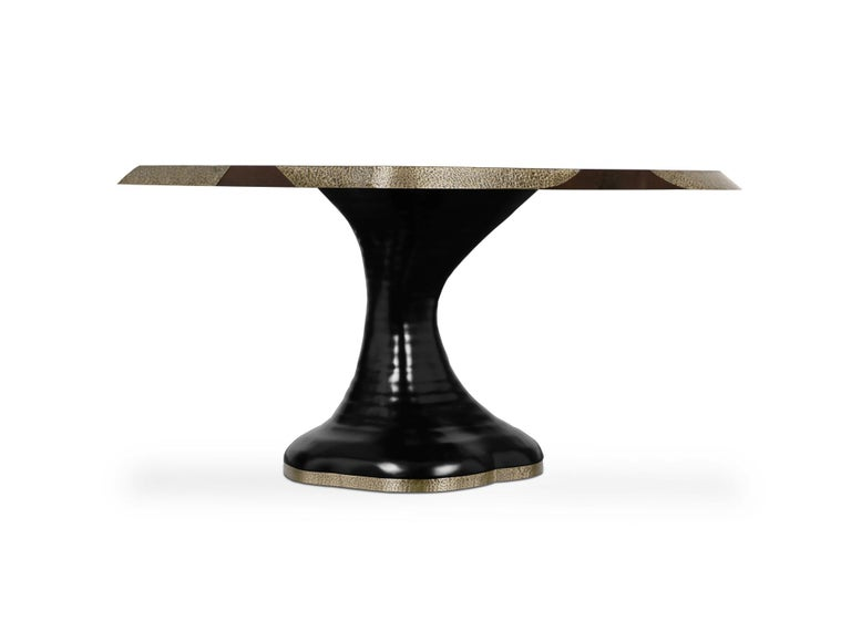 Modern Plateau II Wood Dining Table with Brass Matte Table Top For Sale