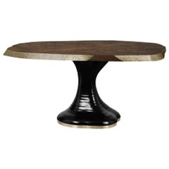 Plateau II Wood Dining Table with Brass Matte Table Top