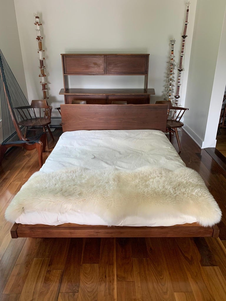 Platform Bed with Walnut Headboard George Nakashima For Sale 4