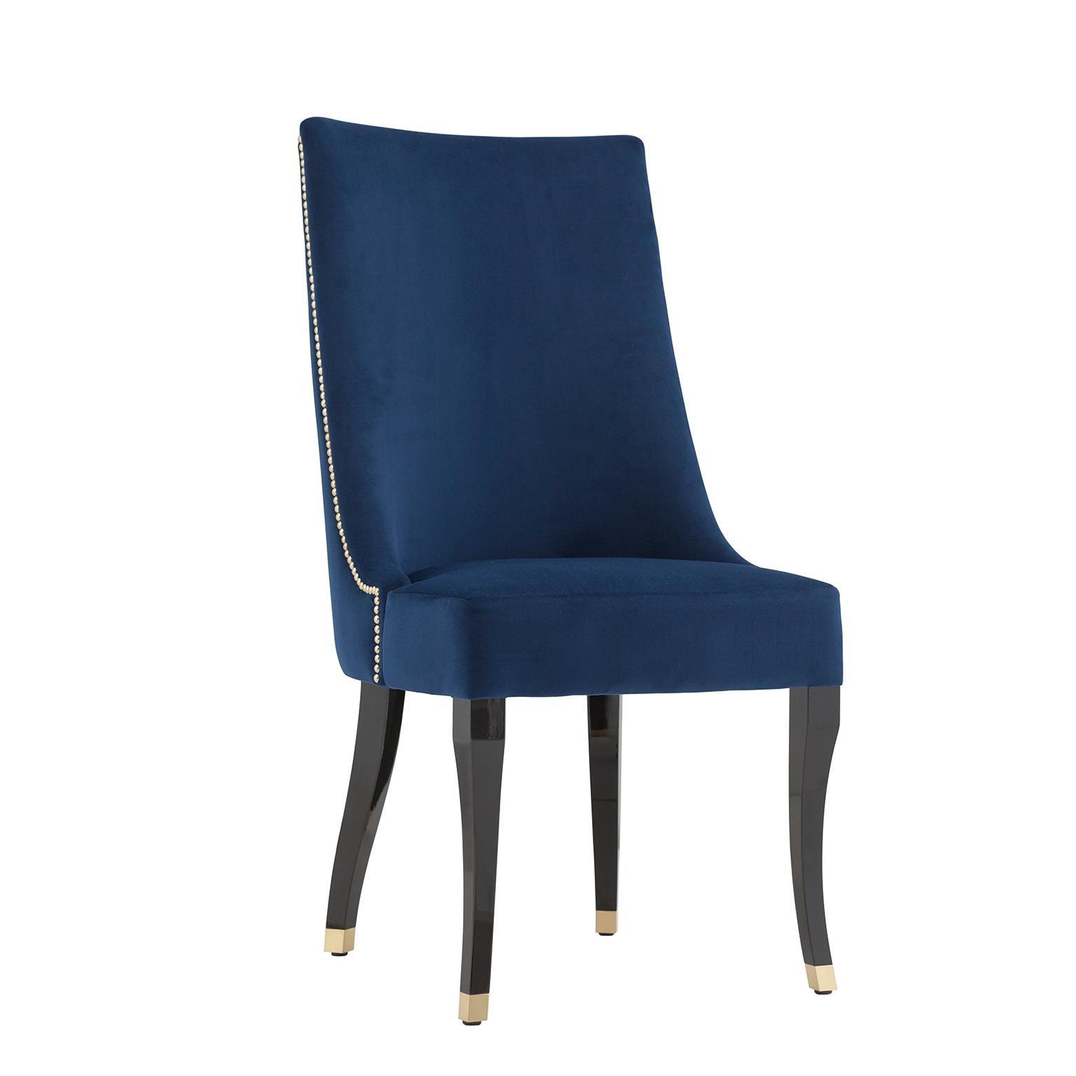 Plathea Chair Blue Velvet Gold Tacks Beech Black Stain Brass Leg End Caps