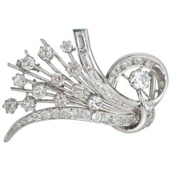 Platine and Diamonds Brooche Shape Bouquet of Flowers, circa 1950s