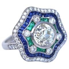 Platinium Diamond Ring 2.49 Carat Emeralds Sapphires Certified