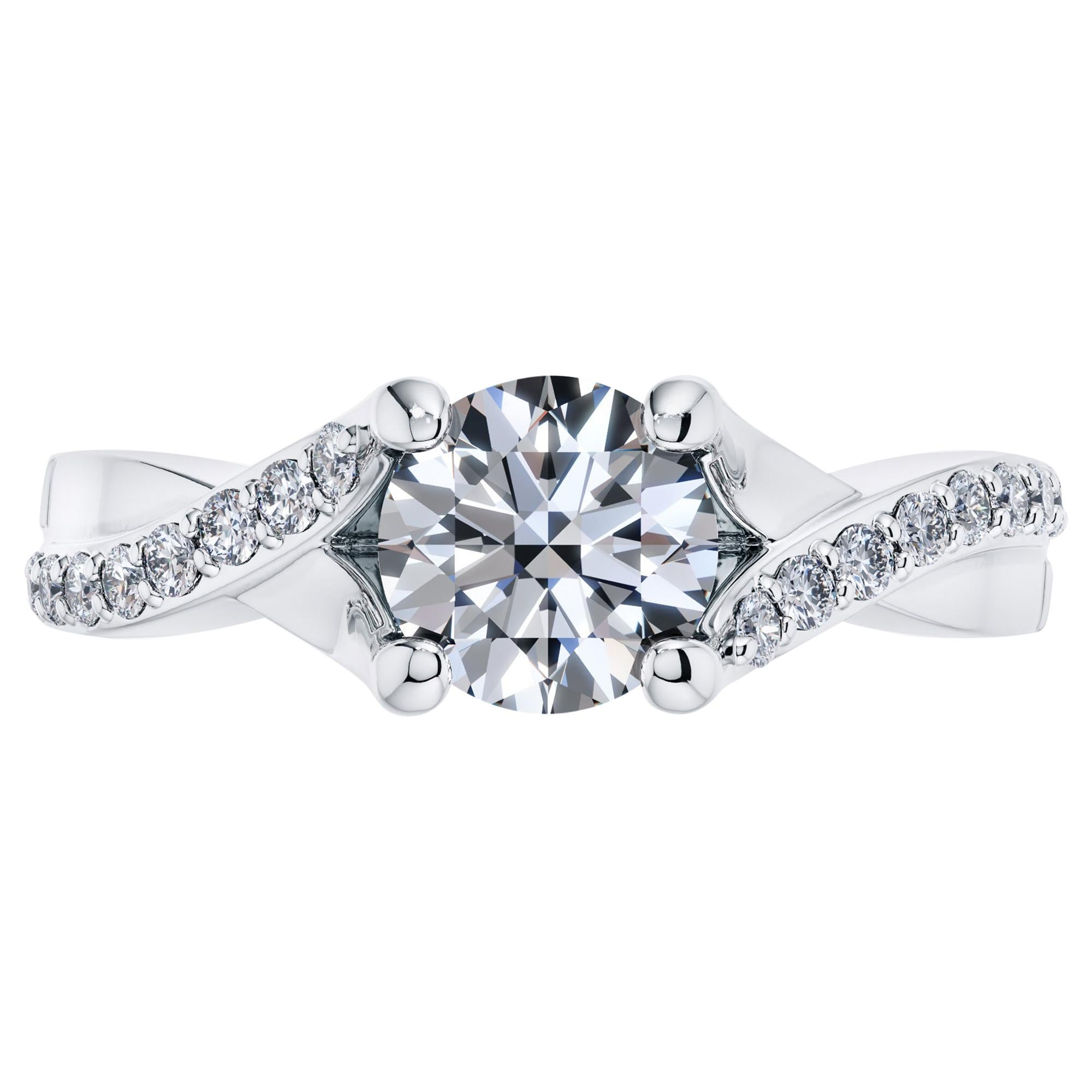 Platinum 0.40 Carat Round Diamond Twisted Love 4 Prong Bespoke Engagement Ring
