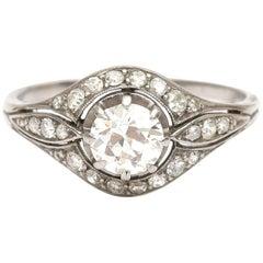 Platinum 0.58 Carat Brilliant Cut Diamond Ring