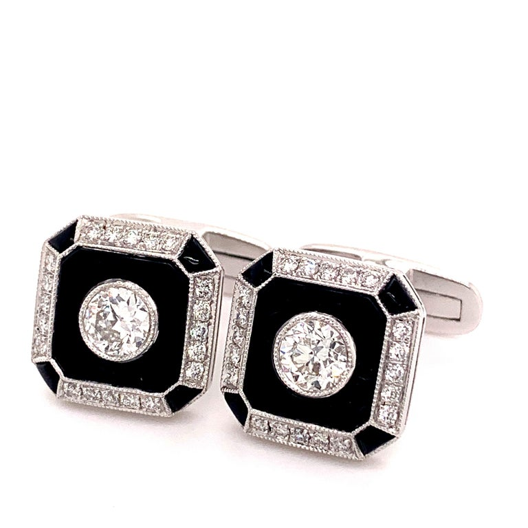 Round Cut Platinum 0.87 Carat Onyx and Diamond Cufflinks For Sale