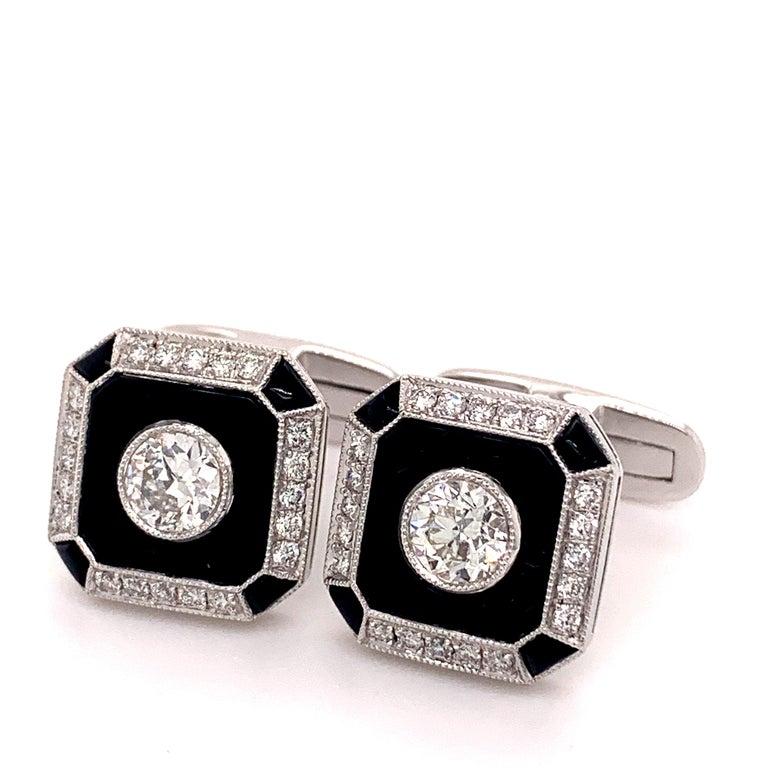 Men's Platinum 0.87 Carat Onyx and Diamond Cufflinks For Sale