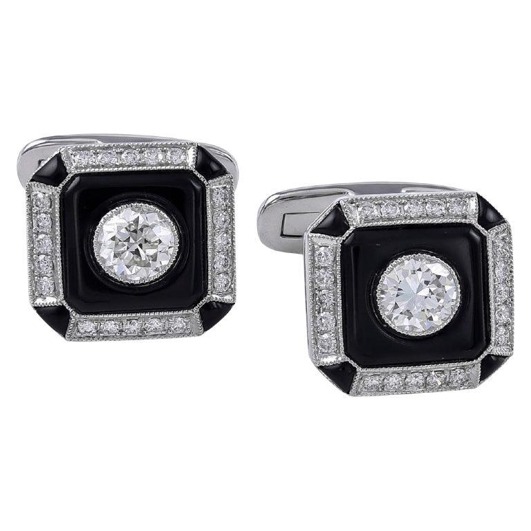 Platinum 0.87 Carat Onyx and Diamond Cufflinks For Sale