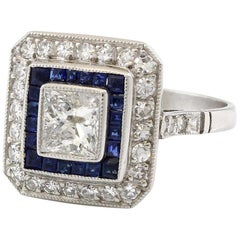 Platinum 1 Carat Diamond and Sapphire Vintage Engagement Ring