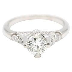 Platinum 1.0 Carat Round Cut Diamond Solitaire Ring by Tacori