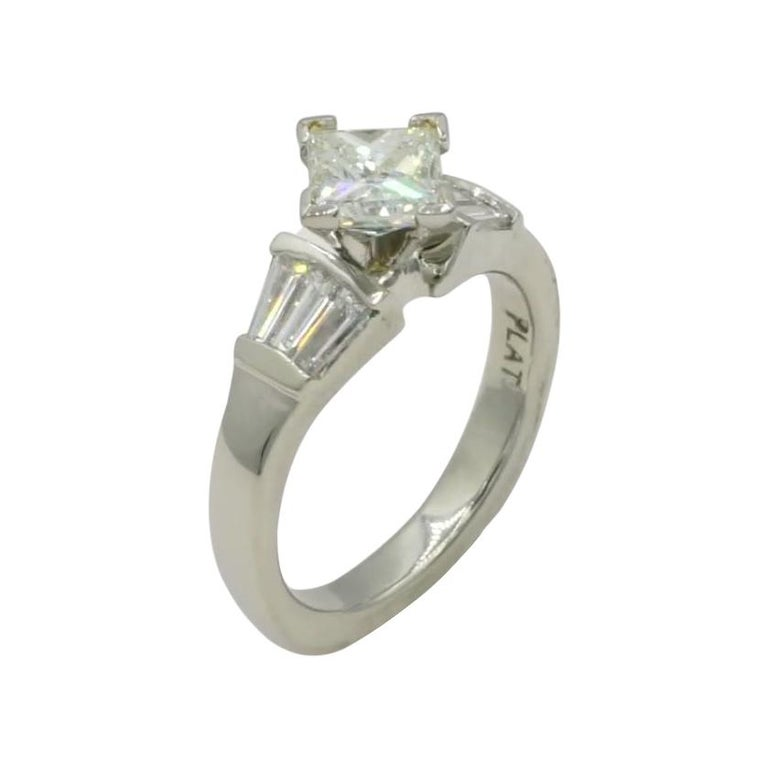 Platinum 1.00 Carat GIA Certified Princess Cut Diamond Ring with Baguette For Sale