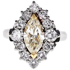 Platinum 1.01 Carat Marquise Cut Natural White Diamond Solitaire Ring