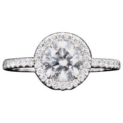 Platinum 1.01 Carat Round Brilliant Cut Diamond Halo Engagement Ring