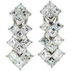 Platinum 10.25 Carat Square Emerald Cut Diamond Earrings