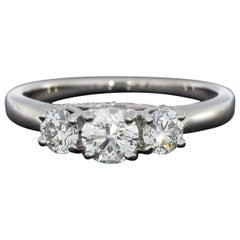 Platinum 1.03 Carat GIA Round Diamond Three-Stone Engagement Ring