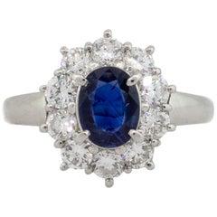 Platinum 1.03 Carat Sapphire and Diamond Engagement Ring