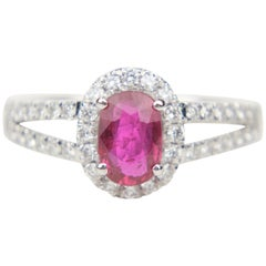 Platinum 1.04 Carat Unheated Ruby and Diamond Ring with GIA Report