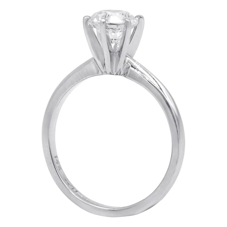 Timeless Platinum Diamond Engagement ring, features 1.05 Carats GIA Certified Diamonds D color VVS2 in clarity Comes with GIA report The center diamond can be sold separately