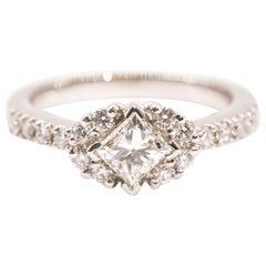 Platinum 1.05 Carat Princess and Round Brilliant Cut Diamond Engagement Ring