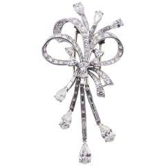 Platinum 10.50 Carat Diamond Ribbon Bow Brooch Pin