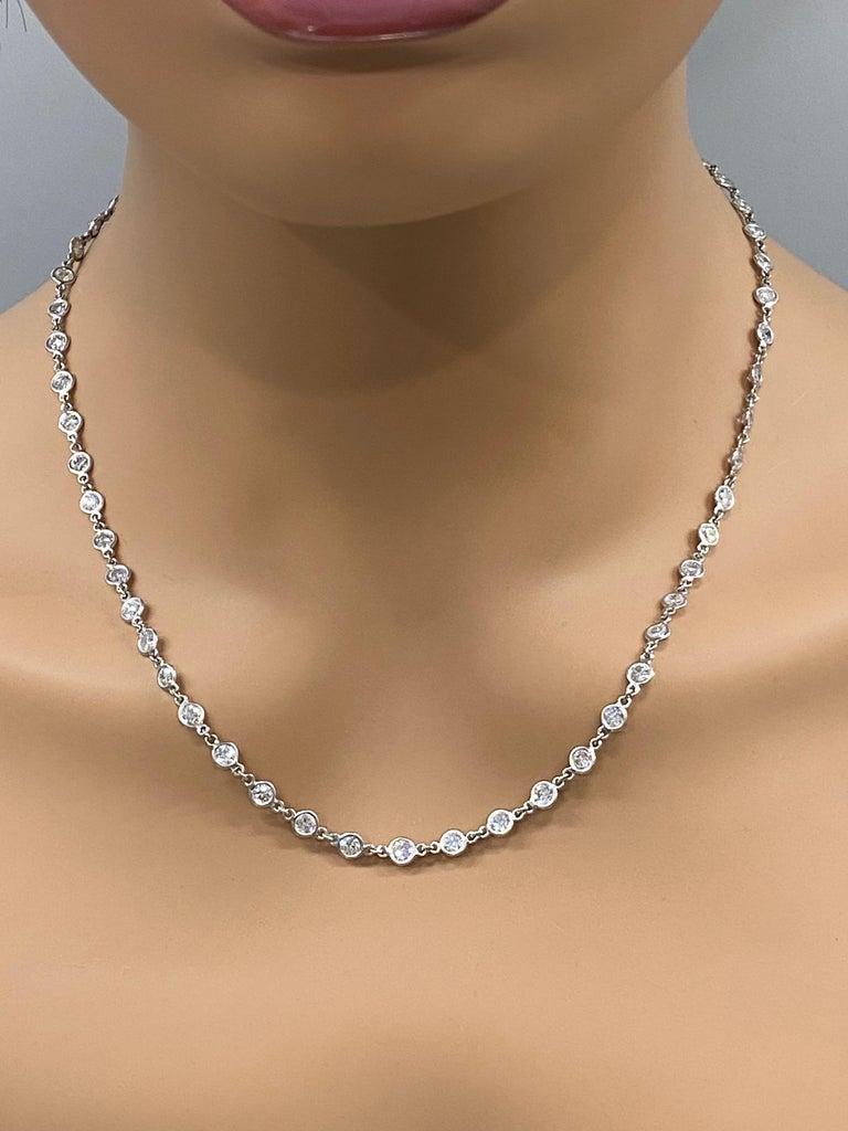 Contemporary Platinum 11 Carat Bezel Set Diamonds by Yard Necklace For Sale