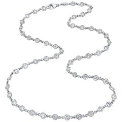Platinum 11 Carat Bezel Set Diamonds by Yard Necklace