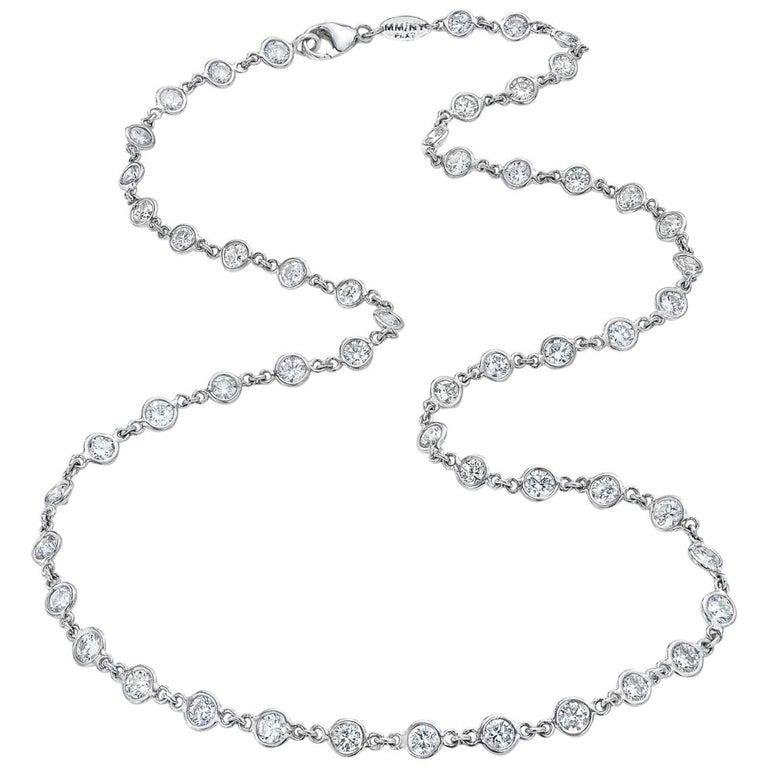 Platinum 11 Carat Bezel Set Diamonds by Yard Necklace For Sale