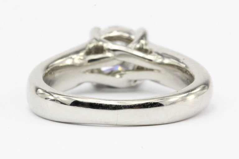 Platinum 1.12 Carat D/VS2 Round Brilliant Diamond Solitaire Engagement Ring In New Condition For Sale In Cape May, NJ