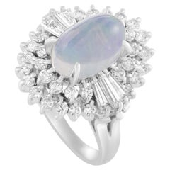 Platinum 1.12 Carat Diamond and Opal Oval Ring