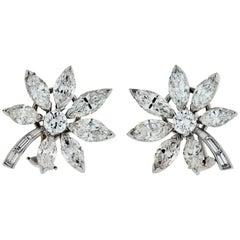 Platinum 11.30 Carat Vintage Marquise Cut Diamond Starflower Earrings