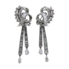Platinum 12 Carat Diamond Day and Night Cocktail Earrings
