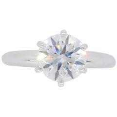 Platinum 1.21 Carat Round Brilliant Cut Diamond Solitaire Engagement Ring