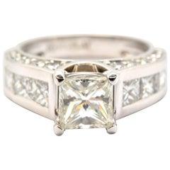 Platin 1,23ct modifizierter Prinzessinnen Diamant mit Diamantaufnahme Verlobungsring