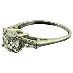 Platinum 1.28 Carat Center Round Brilliant Cut Diamond Ring