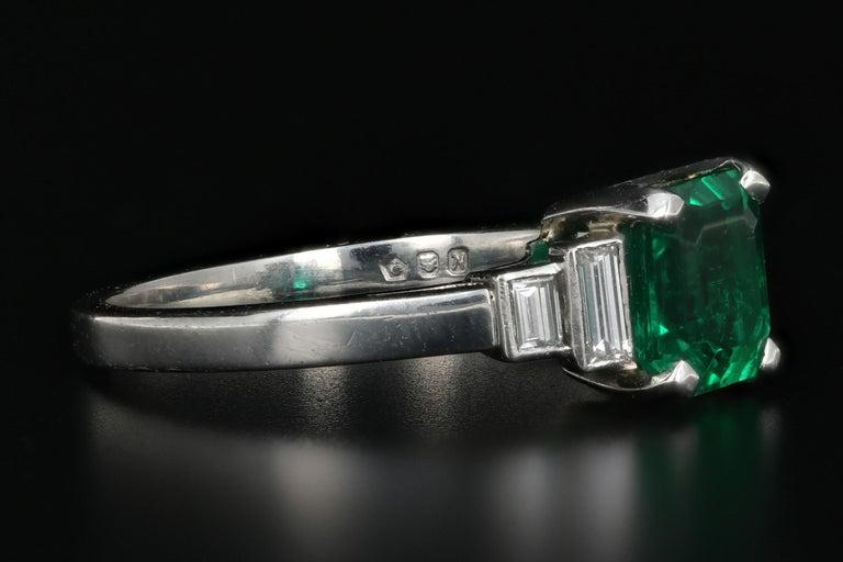 Emerald Cut Platinum 1.28 Carat Columbian Emerald GIA Certified For Sale