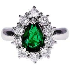 Platinum 1.29 Carat Vivid Green Zambian Emerald and Diamond Wedding Ring