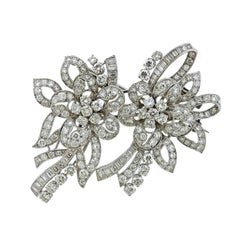Platinum 13 Carat Diamond Double Clip Brooch Set