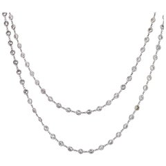 Platinum 13 Carat Round Cut Diamonds by the Yard Necklace