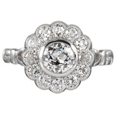 Platinum 1.34 Carat Old European Cut Diamond Cluster Ring