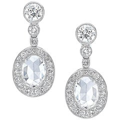Platinum 1.34 Oval Rose Cut Diamond Hanging Earrings